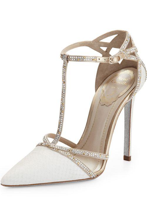 Rene Caovilla Bejeweled T-Strap d'Orsay Pumps Spring 2014 #Shoes #Heels