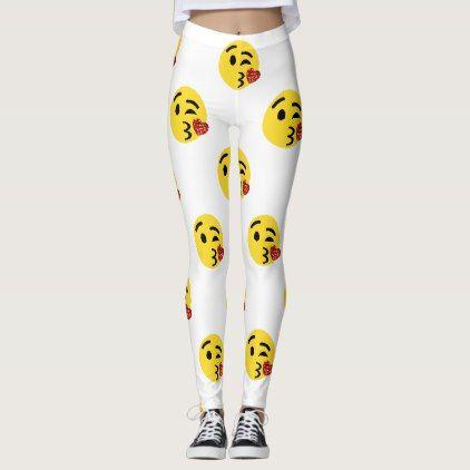 #glitter kiss emoji leggings - #emoji #emojis #smiley #smilies