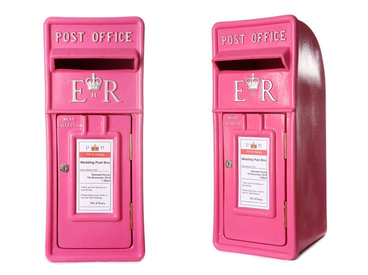 Royal mail post box in hot pink  with silver lettering / wedding post box / lockable fun letter box / pink royal mail post box for hire and sale