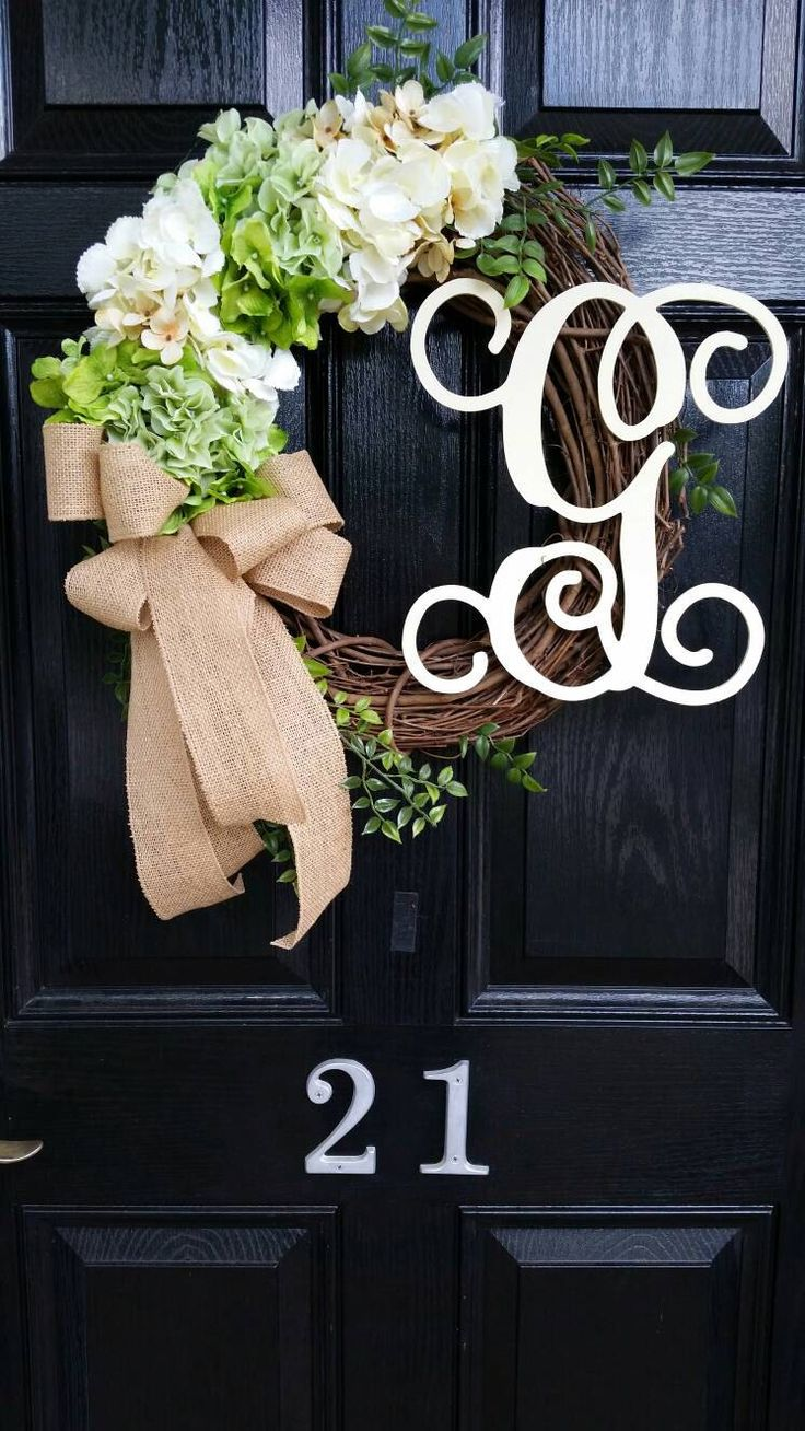 Large Grapevine Door Wreath Hydrangeas Personalized Monogram Initial Wedding Burlap Chevron Ribbon Spring Summer Year Round by DesignTwentyNineSC on Etsy https://www.etsy.com/listing/276770752/large-grapevine-door-wreath-hydrangeas