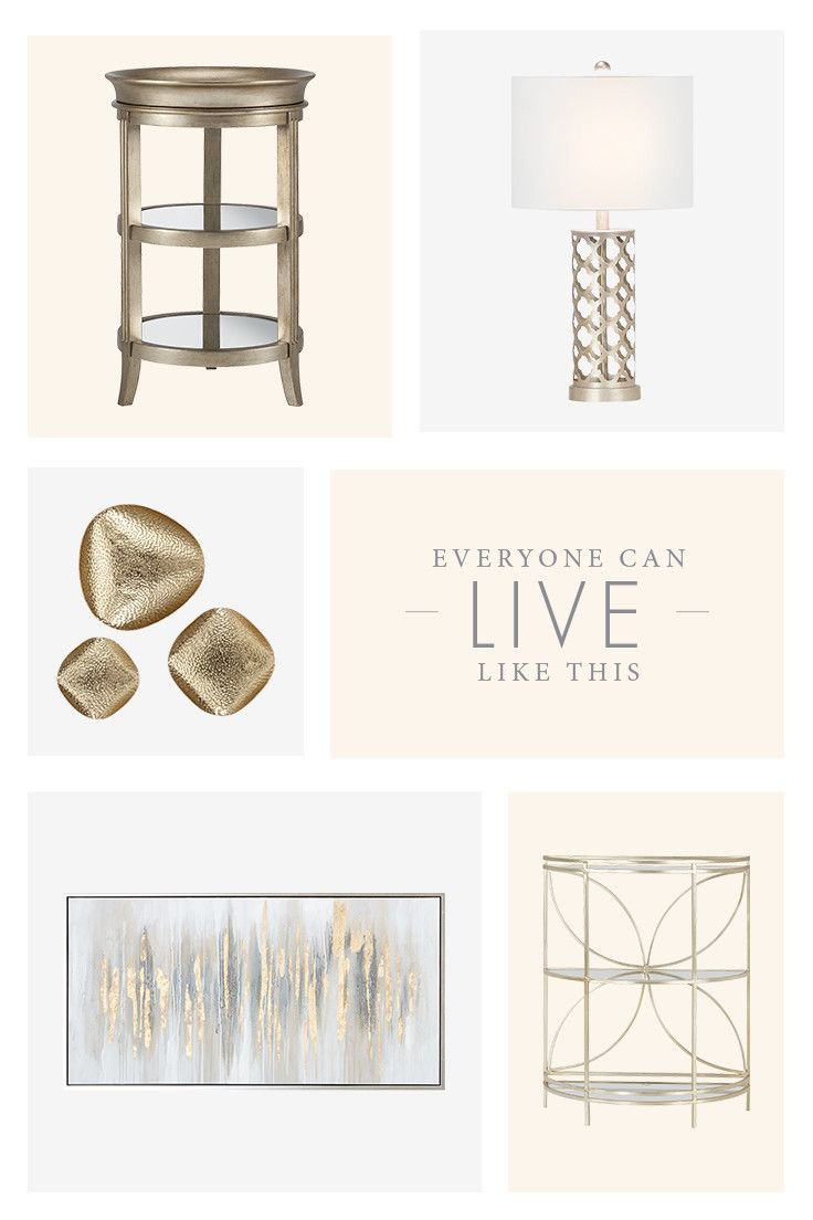 Add some shimmer to your space with golden home accents, like canvas art, a three tiered end table, or a table lamp.