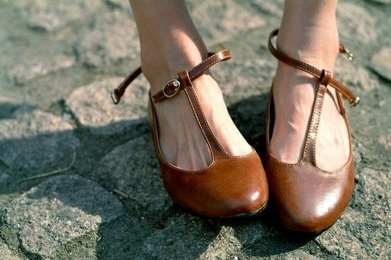 brown leather t-strap flats.