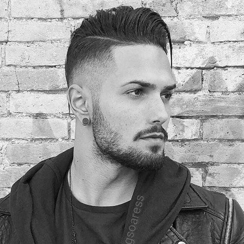 High Fade with Long Comb Over and Beard
