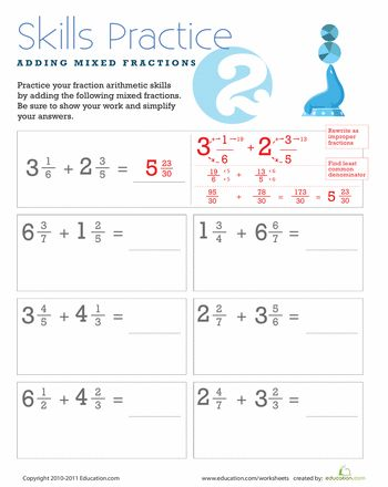 Worksheets: Adding Mixed Fractions with Unlike Denominators