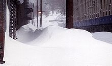 Blizzard of 1996 snowdrifts, Yonkers, New York.