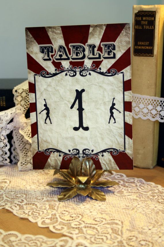 Vintage Carnival Wedding Table Numbers (Gorgeous Circus INSTANT DOWNLOAD Printable) Red, Blue and White