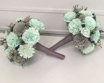Navy Mint Gray Wedding Bouquet Made With Sola Flowers Choose Colors Bridal