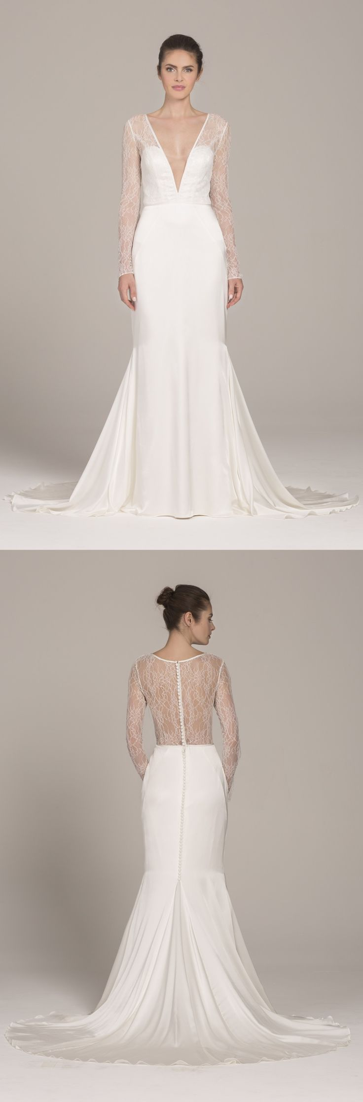 Portia wedding dress by Kelly Faetanini in Ivory // Chantilly lace long sleeve gown with silk stretch satin skirt and plunging neckline #weddingdress