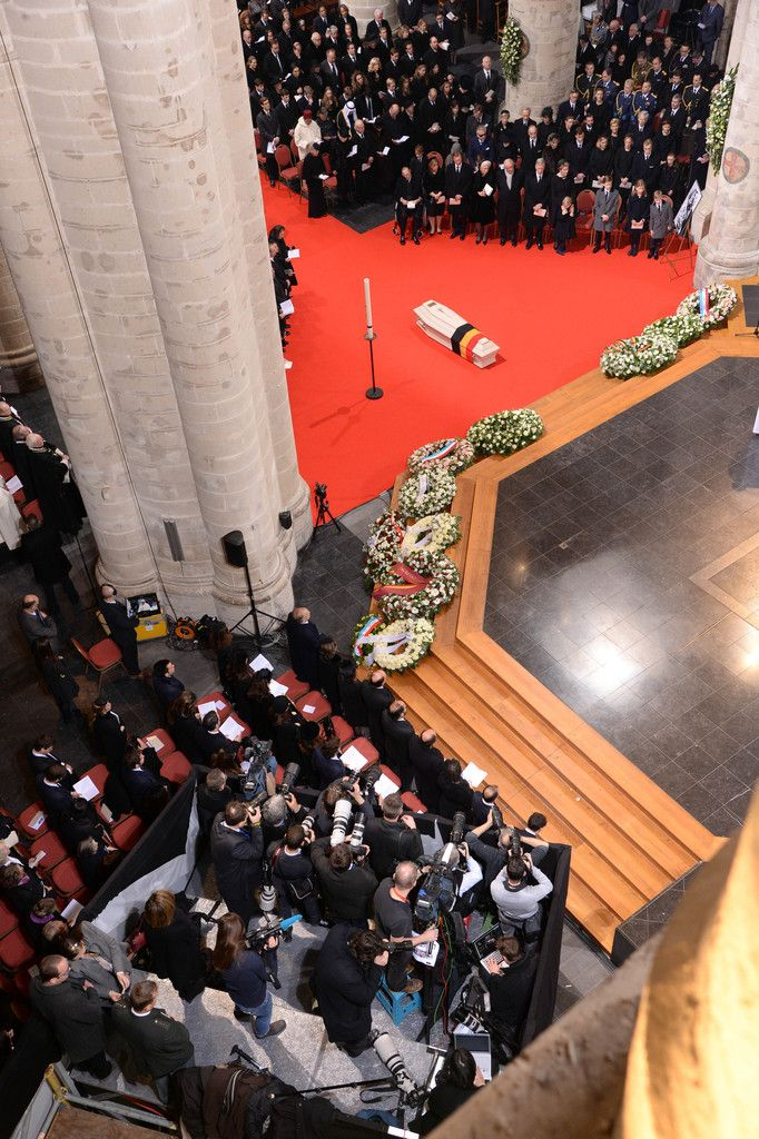 A general view during the funeral of Queen Fabiola of Belgium is held at Notre Dame Church on December 12, 2014 in Laeken, Belgium.