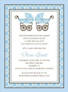 damask pram blue twins baby shower invitations by noteworthy collections damask pram blue
