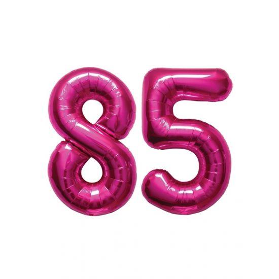 Verjaardag ballonnen 85 jaar roze  85 jaar folie ballonnen roze. Dit product bestaat uit twee cijfer ballonnen die tezamen het cijfer 85 vormen. Formaat van beide roze ballonnen: ongeveer 86 cm. Let op u kunt de ballonen heel gemakkelijk met een ballonpomp opblazen. U kunt de ballonen ook zelf vullen met helium welke bij ons in tankjes verkrijgbaar zijn. De ballon wordt dus zonder helium geleverd. Met een helium tank van 30 ballonnen kunt u circa 4 cijfer ballonnen vullen en met een helium…