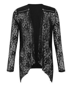 Cameo Rose Black Lace Zip Shoulder Kimono  | New Look