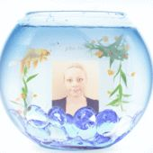Sara and the Goldfish. The portrait shows Sara Adeline Mazzolini in January 2015. Sara Mazzolini is in the fish bowl. Photo shared via Share.Pho.to