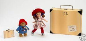"Madame Alexander Dolls, 8"" Wendy Loves Paddington Bear, Paddington Bear Collection, Americana Series by Alexander Dolls. $87.95. Wendy Loves Paddington Bear includes a plush Paddington Bear and a suitcase. Paddington Bear's 50 Anniversary Edition, and part of the Americana Collection. Paddington Bear is wearing his traditional blue coat and red hat. Comes packaged in a special Paddington Bear Suitcase. Wendy is wearing a colorful polka dot dress and a big red hat. F..."