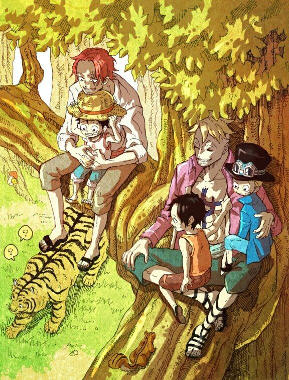 Red Haired Shanks Marco The Phoenix ASL Brothers Portgas D Ace Sabo Monkey D Luffy One Piece