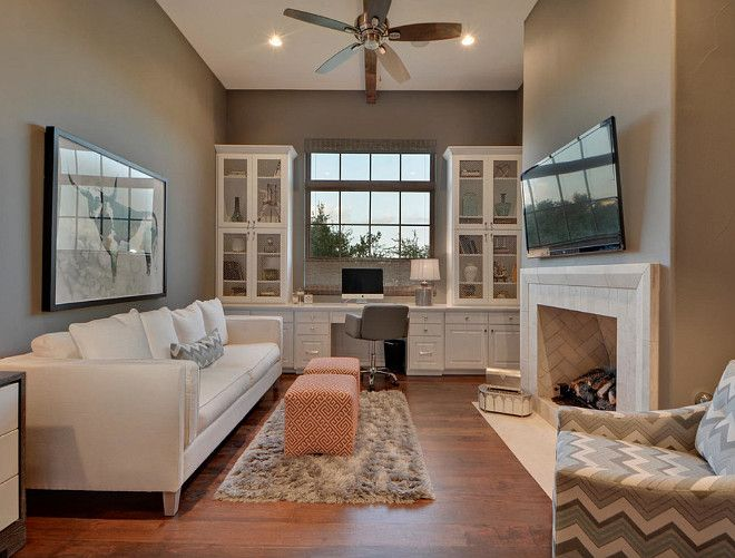 Cozy Use Of Space By Combining A Home Office With Living Fireplace Tv Combo Packs Lot Into