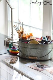 I Love Our Vintage Style Galvanized Caddy Packed With Colorful Craft Supplies From Finding Home