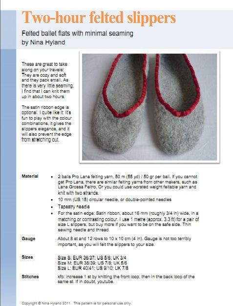 Ravelry: Two Hour Felted Slippers pattern by Nina Hyland