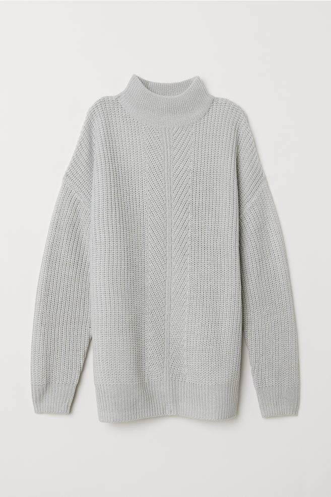 e1056caef898 Knitted turtleneck jumper - Light grey marl - Ladies