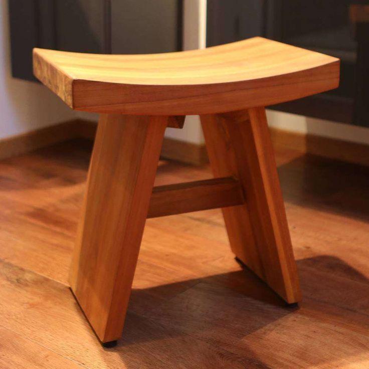 Japanischer Badezimmerhocker aus Teak-Holz