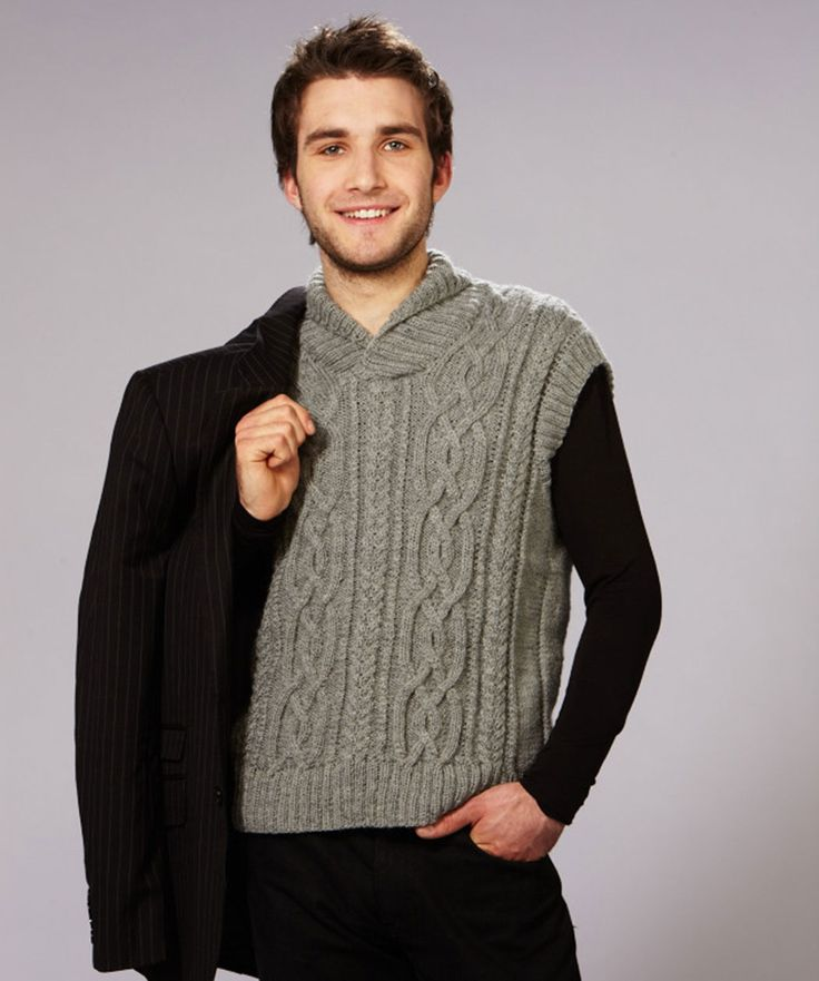 Knitting Pattern Cardigan Vest : 162 best Sweaters de Hombres images on Pinterest Free knitting, Sweater pat...