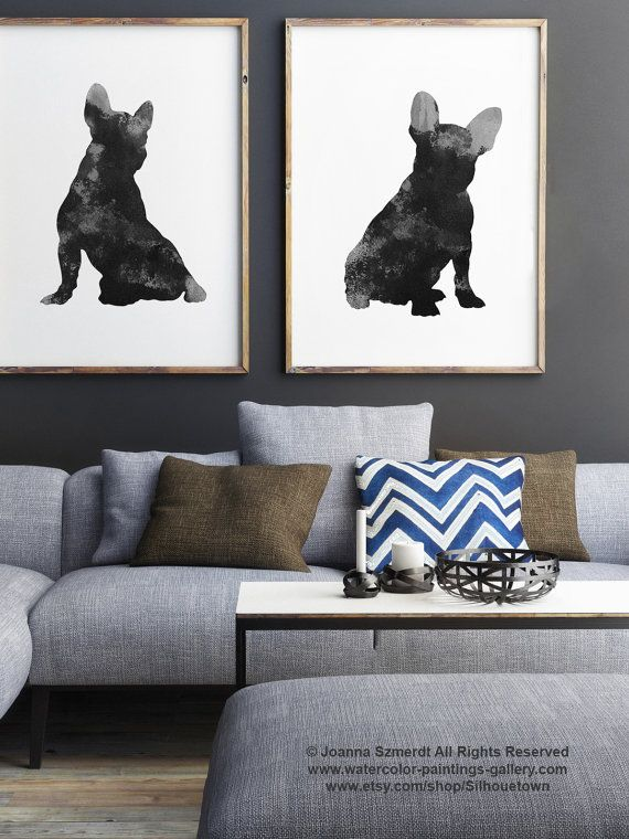 Frenchie, Set of 2 Paintings, Black Dog Print, French Bulldog Silhouette, Gray Wall Decor, Watercolor painting