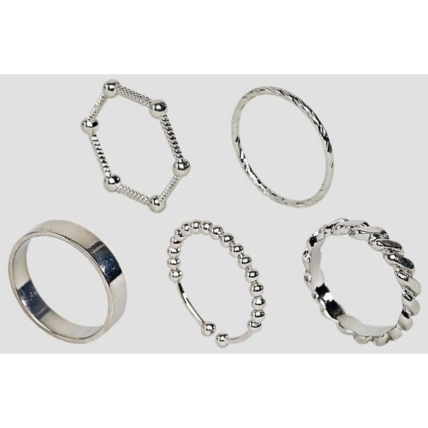 Limited Edition Pack of 5 Ball and Twist Rings ($10) ❤ liked on Polyvore featuring jewelry, rings, silver, asos jewellery, asos jewelry, ball jewelry, prom jewelry and asos