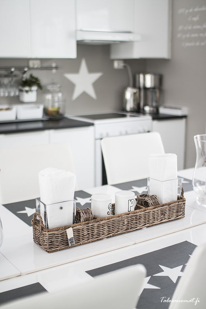 Kitchen with Riviera Maison decorations via Talosanomat.fi http://www.talosanomat.fi/wp-content/uploads/2014/03/keittio81.jpg