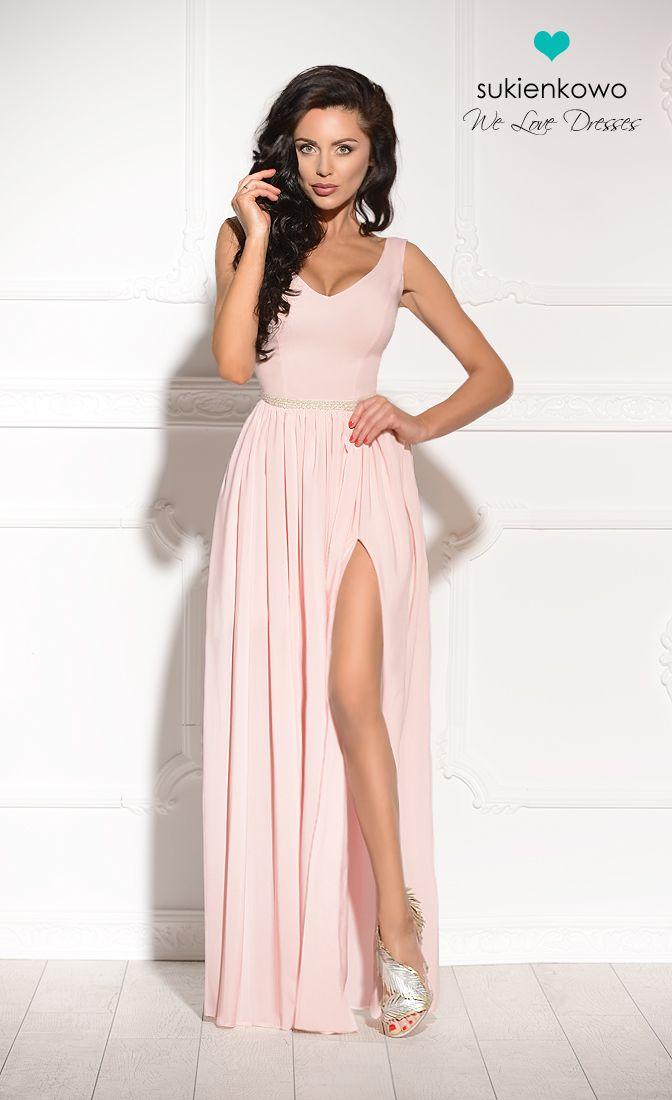 Sukienkowo Pl Shannon Dluga Sukienka Z Perlami I Rozcieciem Rozowa Dresses Long Dress Bridesmaid Dresses
