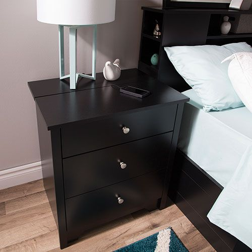 Vito Transitional 2-Drawer Nightstand with Charging Station - Pure Black : Nightstands - Best Buy Canada