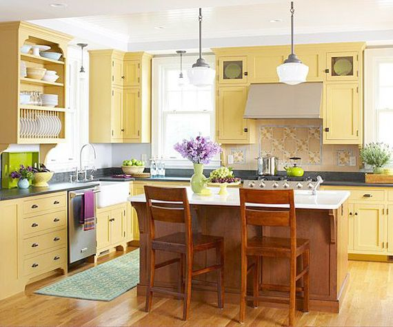 Yellow country kitchen ideas the image for Country kitchen paint ideas