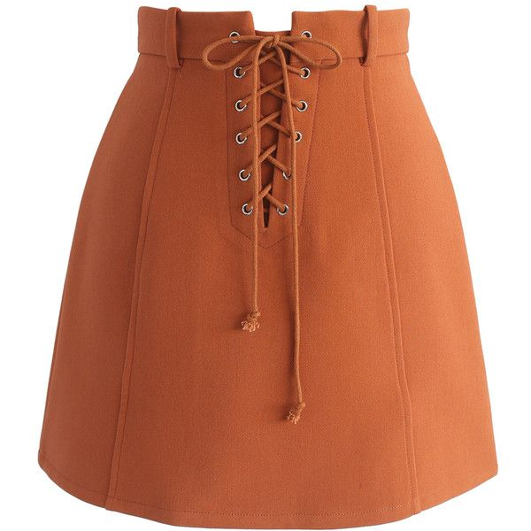 Chicwish Lace-up Era Bud Skirt in Orange ($42) ❤ liked on Polyvore featuring skirts, mini skirts, orange, short brown skirt, orange skirt, chicwish skirt, slip skirt and short skirts