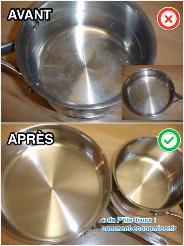 Du tartre s'est formé au fond de votre casserole ? Pas la peine de vous énerver à frotter dessus. Il existe un truc super efficace pour nettoyer votre casserole en inox sans effort. L'astuce pour enlever le calcaire dans une casserole est de faire chauffer du vinaigre blanc dedans. Découvrez l'astuce ici : http://www.comment-economiser.fr/astuce-pour-enlever-calcaire-dans-casseroles-vinaigre-blanc.html?utm_content=buffera55bf&utm_medium=social&utm_source=pinterest.com&utm_campaign=buffer