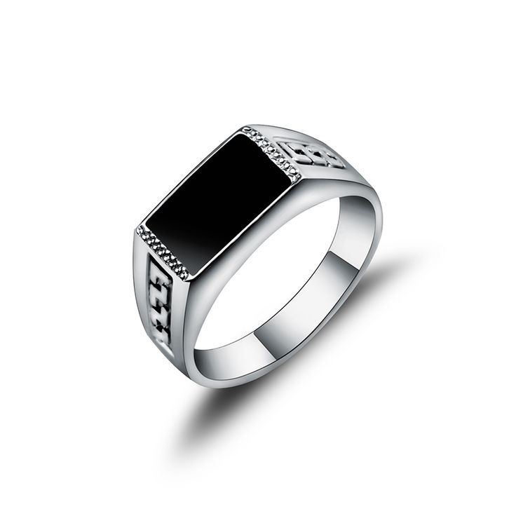 New Arrival Hight Quality White Gold Plated Jewelry Male Ring Fashion Square Black Enamel Men Rings