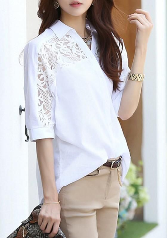 2694172d10f5df White Lace Single Breasted V-neck Plus Size Office Worker/Daily Blouse