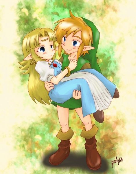 aww chibi link and zelda from a link to the past very cute i like that link is holding her in his arms