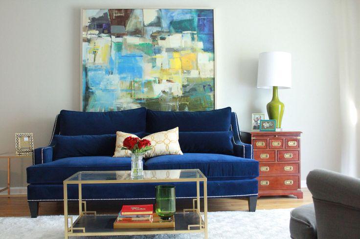 Blue Velvet Sofa Abstract Art Oversized Art Ikea Hack
