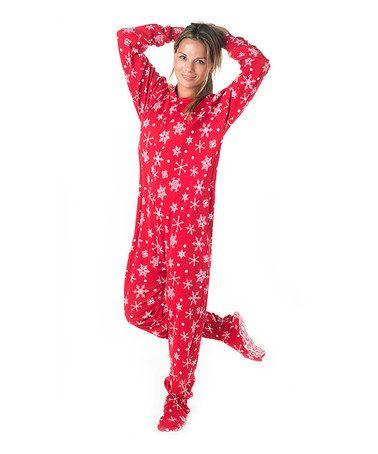 Take a look at this Red & White Snowflake Footie Pajamas - Adults by Footed Pajamas on #zulily today!