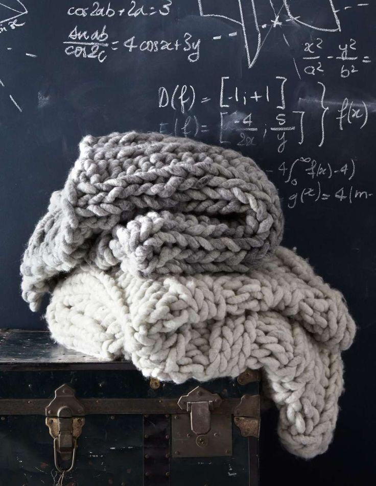 FERDIGSTRIKKET: Kan du ikke strikke, men har lyst på et slikt teppe, så er det flere muligheter. Flere produsenter selger produkter i samme stil. Gant Home er blant produsentene som har et kraftig strikket sengeteppe i sin kolleksjon og Loopy Mange selger disse fra hjemmesiden sin.