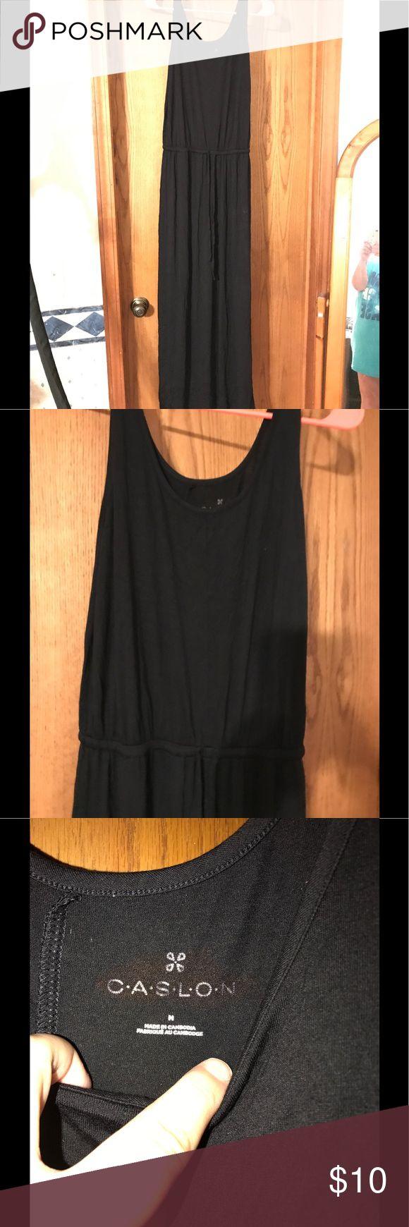 Black tank Maxi Dress Full length black dress, tank  style with a tie at the waist. Caslon Dresses Maxi