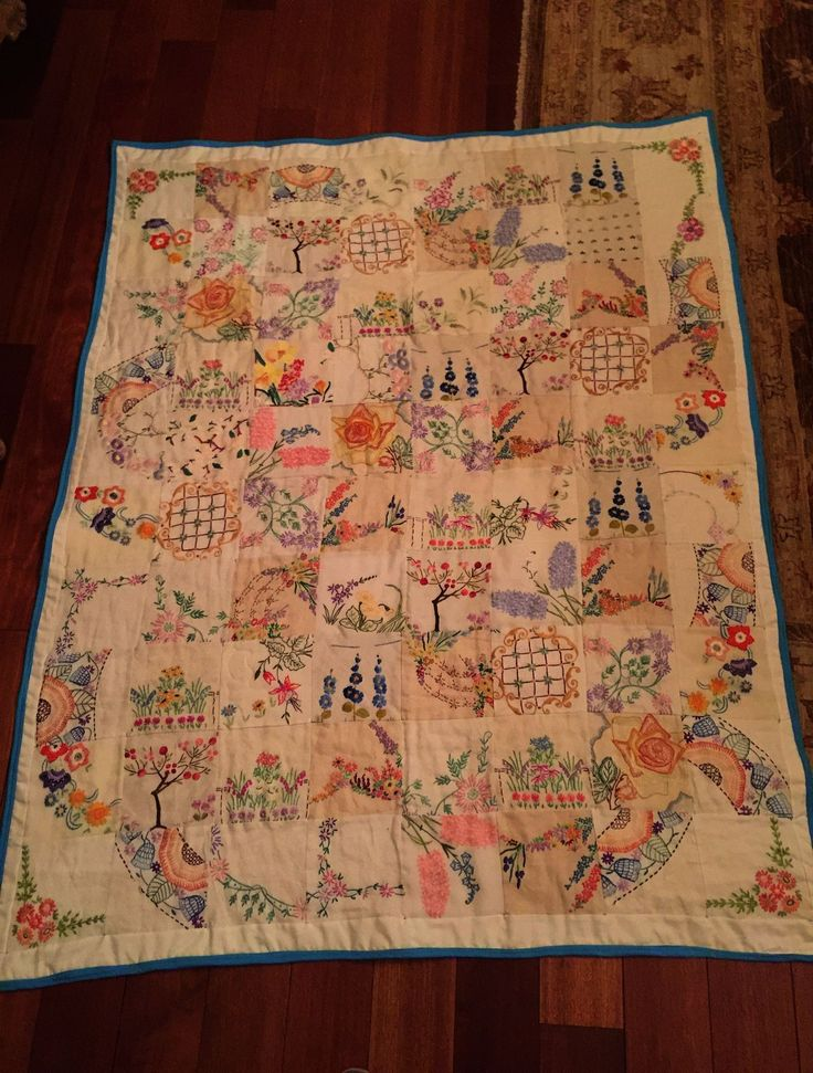 Vintage Embroidery Baby Quilt Patterns Vintage Embroidery