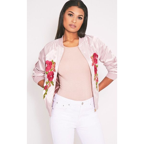Challah Dusty Pink Satin Applique Bomber Jacket ($15) ❤ liked on Polyvore featuring outerwear, jackets, dusty pink, satin bomber jacket, satin jackets, blouson jacket, pink satin jacket and bomber style jacket