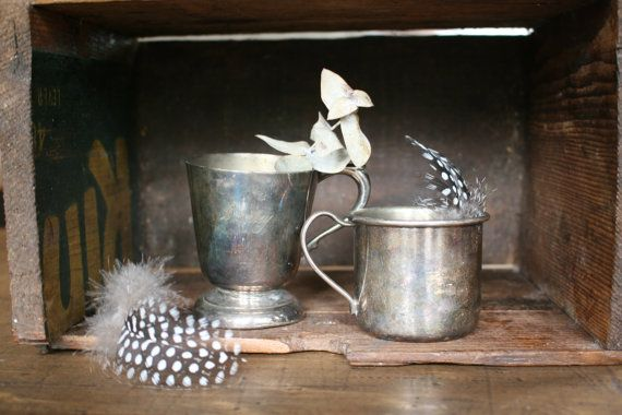 Silver Baby Cups Silver Plate   Gorgeous Old by FoundByHer on Etsy