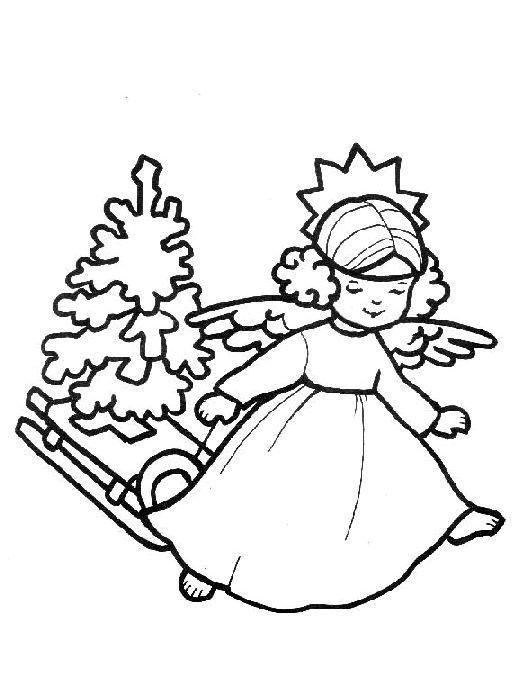 omalovánka vánoční andílek