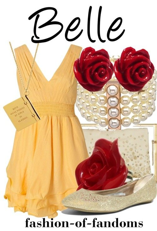 Belle : Disneybound: so few belle outfits, but I love the earrings and shoes on this one.❤