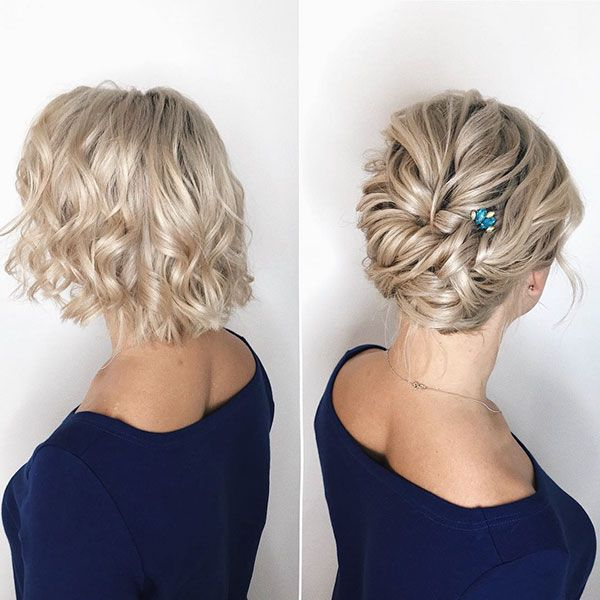 Updos For Short Hair In 2020 Short Hair Updo Short Hair Styles Short Bridal Hair