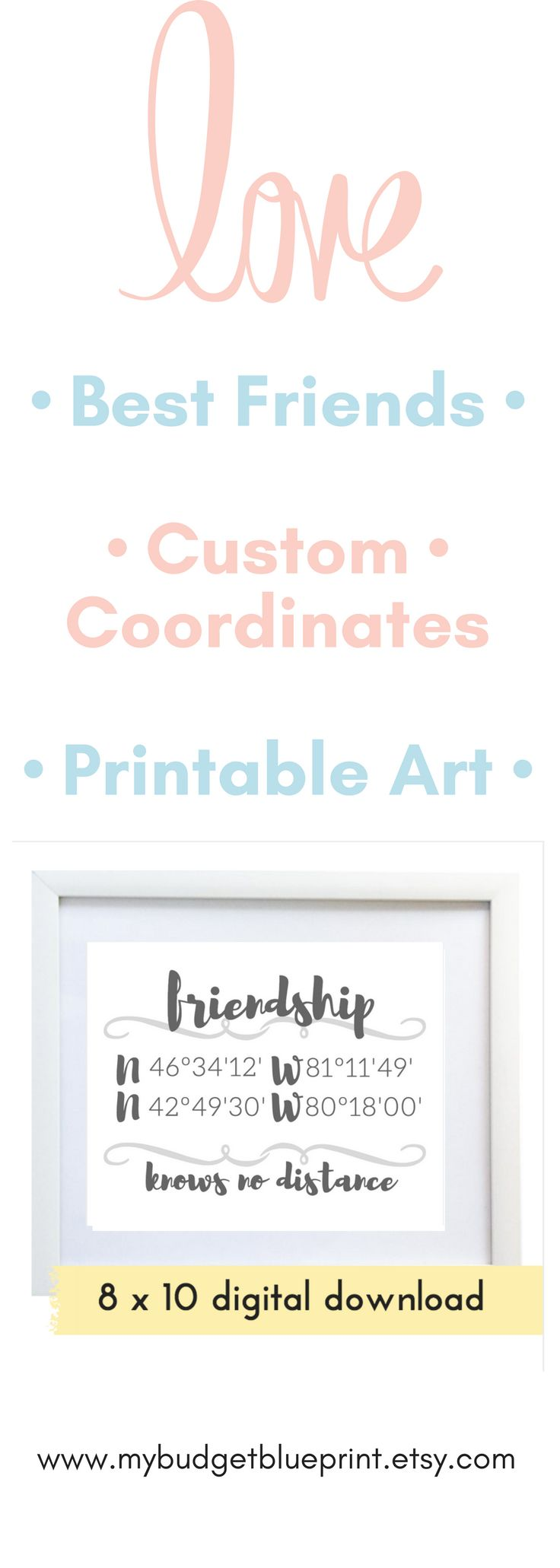 Get one for you and one for her! Perfect for long distance bff. Put up on your wall, desk, or use as a card - best friend gifts for christmas for women custom gift affordable gift
