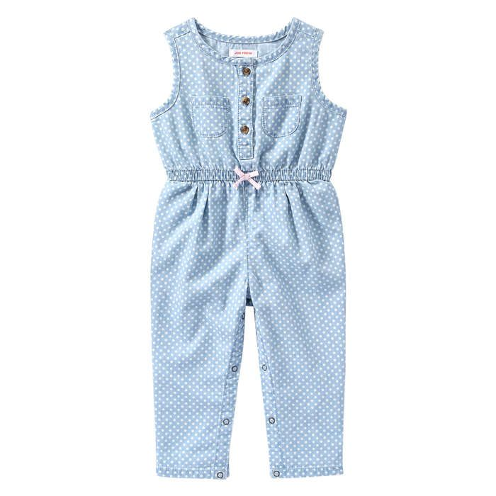 Baby Girls' Polka Dot Denim One Piece from Joe Fresh. Hit the spot with our cute polka dot one piece. The full inseam closure makes getting dressed a snap. Only $19.