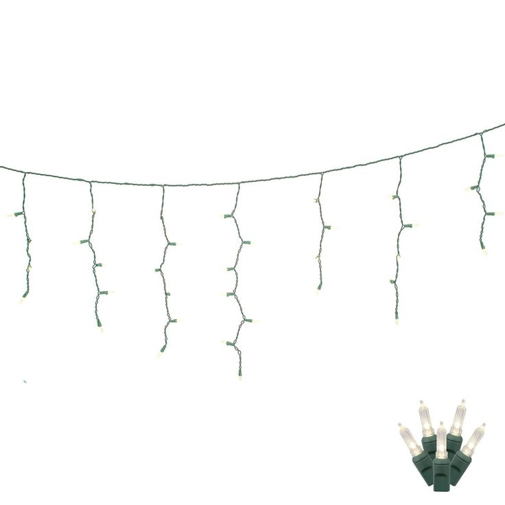 70 Warm White LED Lights / Green Wire 9Ft. Icicle Christmas Light Set