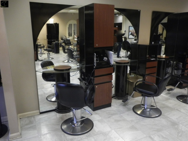 STYLIST STATION 2 STATION 1 SIDED, 98W X 96H X 15D, EACH STATION INCLUDES  MOUNTED MIRROR, HALF ROUND GLASS WORK SURFACE WITH PEDESTAL BASE, EACH  STATION ...